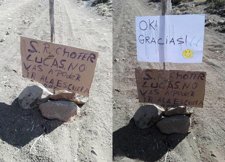 Faltó a clases y avisó con un mensaje en una piedra. (Foto: Gentileza.-)