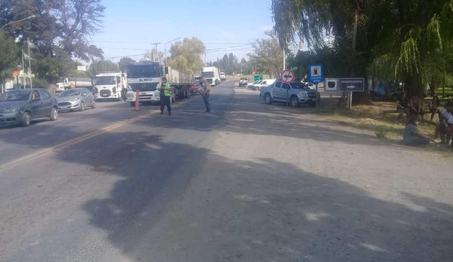 El corte en la ruta: Foto: Gentileza