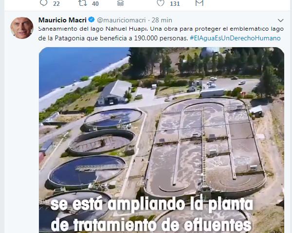 Macri se refirió al lago Nahuel Huapi en el Día Mundial del Agua. Foto: Twitter.