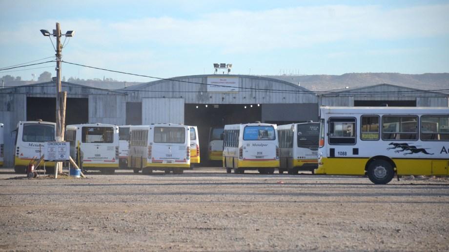 Los colectivos quedaron retenidos en la base de la empresa. (Foto: Yamil Regules)