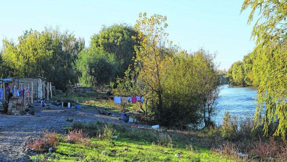 En Cipolletti los vecinos del barrio Costa Sur fueron ganando metros a la línea de ribera con las bajantes de los últimos años. (Foto: Mauro Pérez)