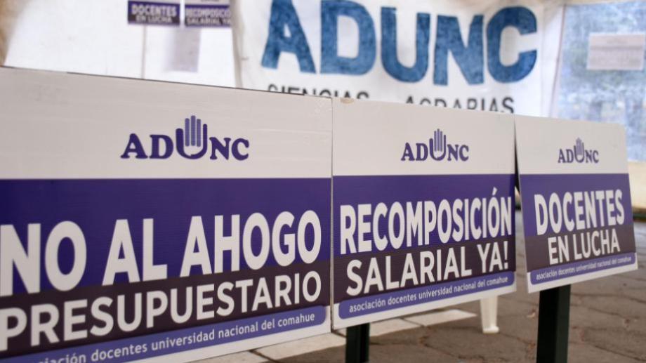 Los docentes agrupados en Adunc pararán mañana y pasado.