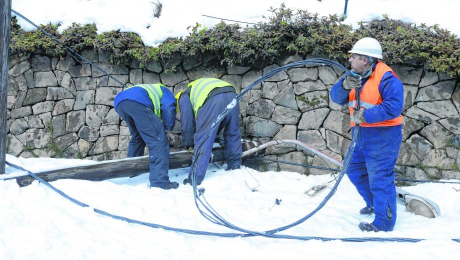 La gran nevada de julio generó trastornos en todo Bariloche con la caída del tendido eléctrico y postes.