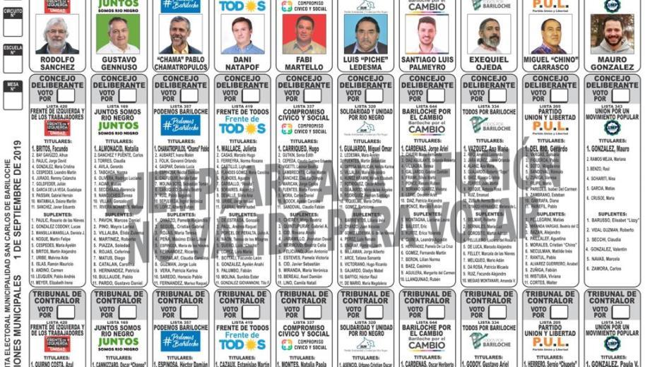 La boleta única de Bariloche finalmente llevará diez listas.