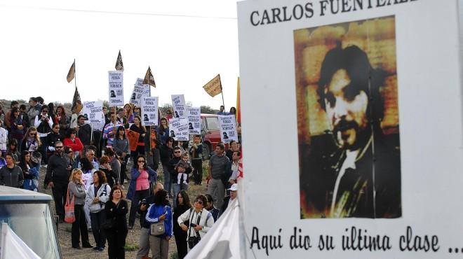 El docente Carlos Fuentealba fue asesinado el 4 de abril de 2007 cuando participaba de una protesta a la altura de Arroyito. Foto archivo.-