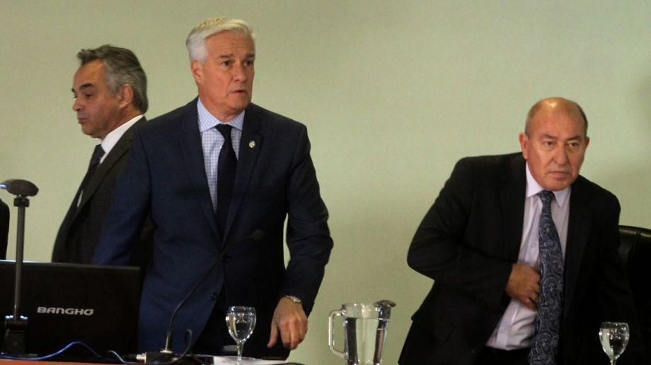 Los jueces SIlva, Coscia y Cabral en las audiencias (Foto Archivo Río Negro)