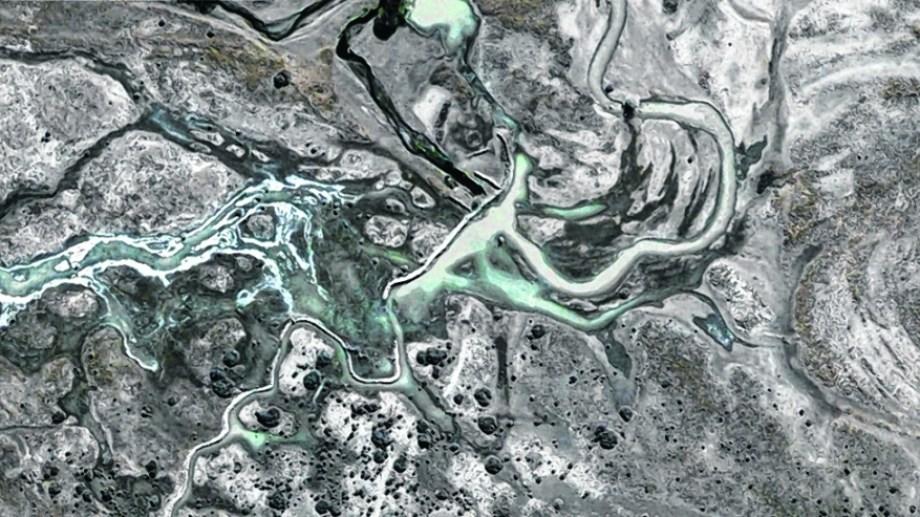 Imagen satelital que muestra la laguna, que tras la gran sequía llegó a secarse, pero resurgió.