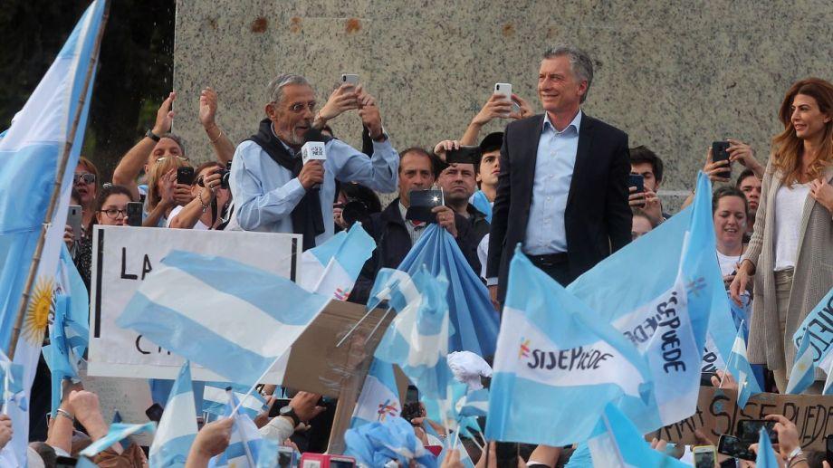 """El martes 8 de octubre Pechi ofició de anfitrión de Macri en la marcha del """"Sí, se puede."""" Foto: Oscar Livera."""