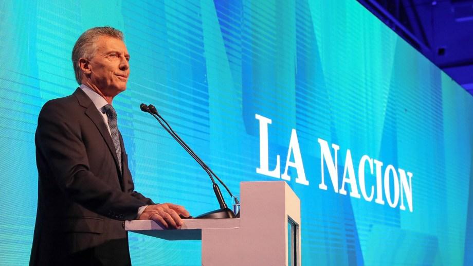 El presidente Mauricio Macri en la celebración de los 150 años de La Nación.