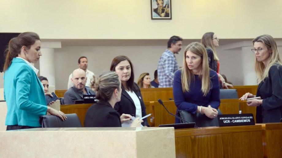 Las mujeres de Cambiemos posicionaron a Rocio Casamayor (de turquesa) para la banca de Karina Montecinos