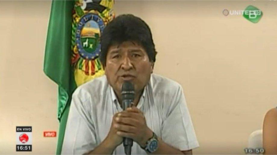 Imagen del mensaje en vivo de Morales. (Foto: gentileza)