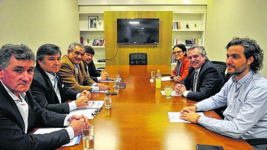 El presidente en una de las reuniones con los ruralistas.