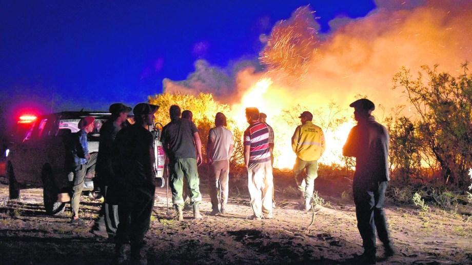 Trabajo sin descanso para controlar el fuego. Las llamas arrasaron con mucha vegetación en los campos de la zona. (Foto: Jorge Tanos)