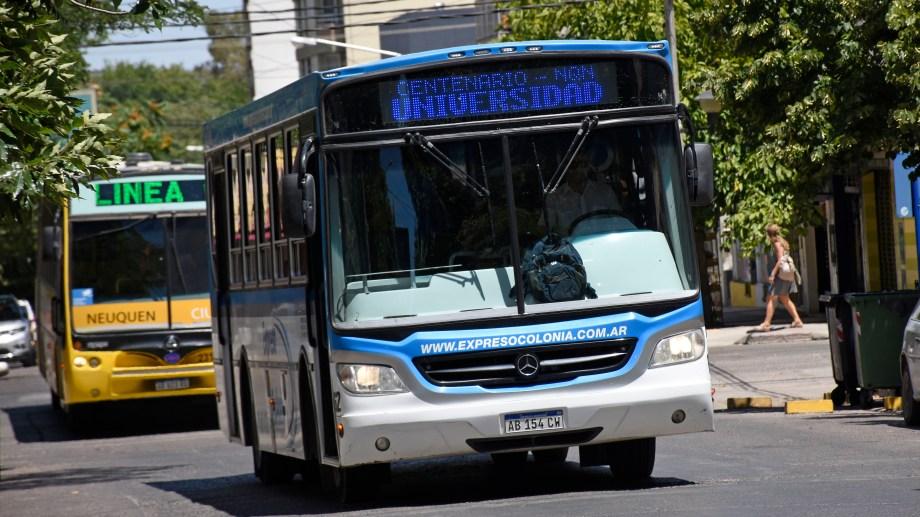 Por segundo día, el servicio de transporte interurbano entre Centenario y Neuquén se encuentra suspendido por el retraso en el pago de haberes. (Foto: Florencia Salto).
