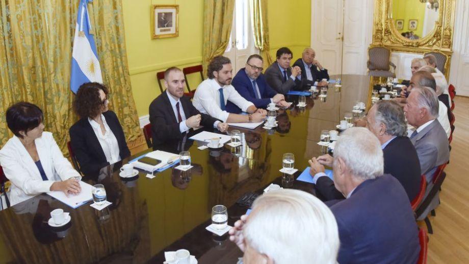 El gabinete económico y social se encontraba reunido hoy en la Casa de Gobierno, con la participación de sindicalistas y empresarios. Foto: Presidencia de la Nación.-