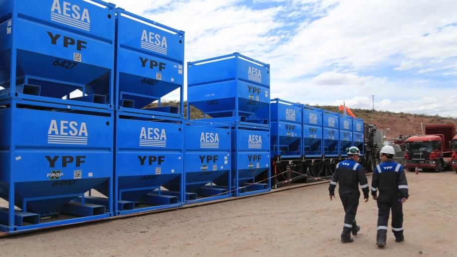 La planta de procesamiento de arenas que pertenece a YPF. Foto: Archivo