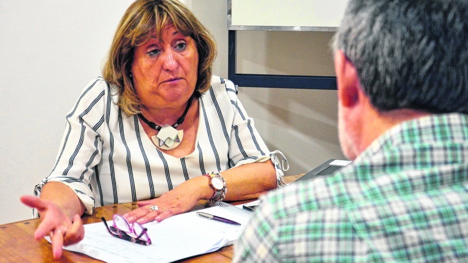 """La ministra Jara Tracchia afirma que la paritaria está en """"cuarto intermedio"""" y espera un acuerdo. Foto Marcelo Ochoa."""