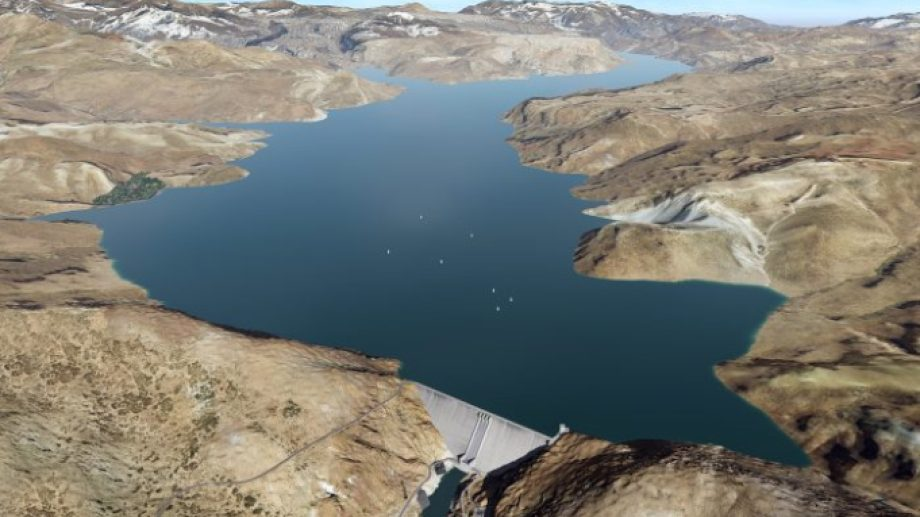 La maqueta de cómo quedaría el río Grande con la represa. Foto Prensa Gobierno de Mendoza