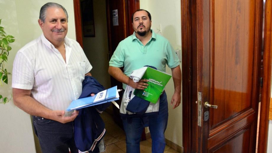 Scalesi, de UPCN, y Vicente, de ATE. Foto: Marcelo Ochoa