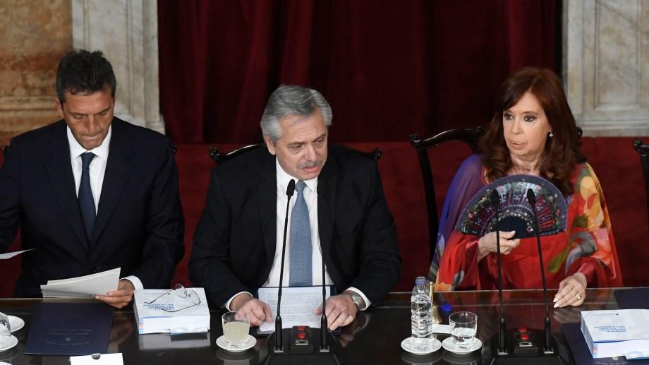 El presidente Alberto Fernández inaugura un nuevo período ordinario de sesiones. Foto Télam.