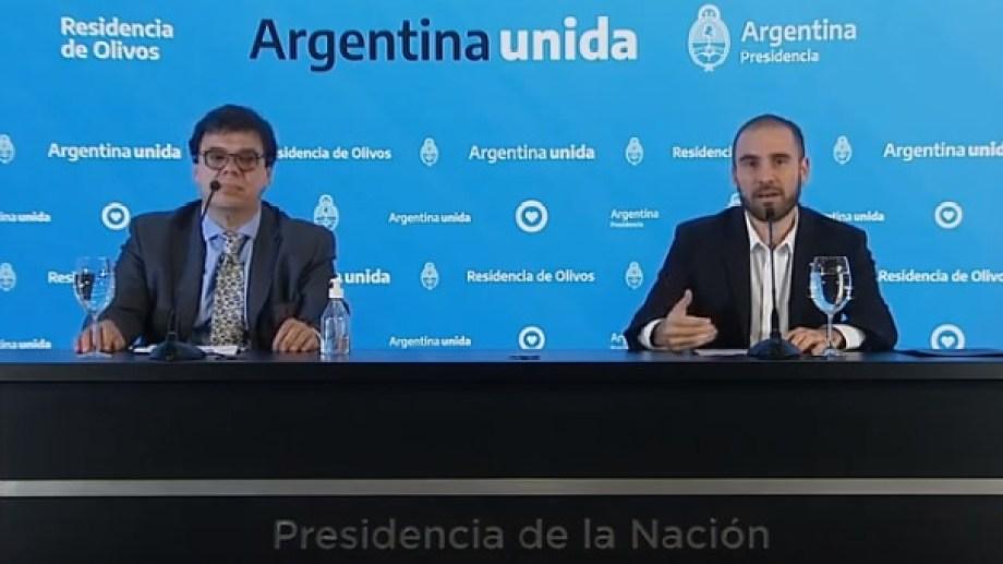 Moroni y Guzmán hicieron los anuncios esta tarde, en Olivos. Foto: captura de pantalla.-