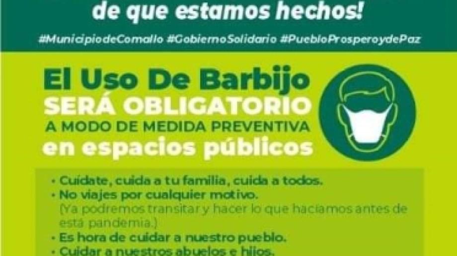 Por WhatsApp el municipio distribuye folleteria sobre el uso de barbijos. (Foto: gentileza)