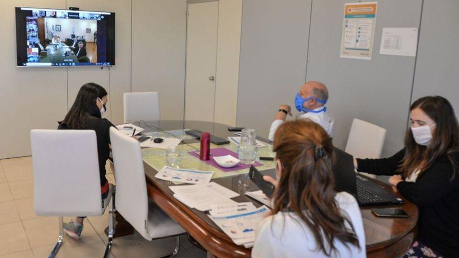 La ministra de Salud Andrea Peve mantuvo una videoconferencia con el titular de Salud a nivel nacional Ginés González García (Neuquén Informa)