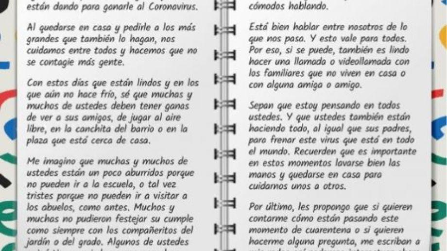 La carta de Gutiérrez que publicó en sus redes