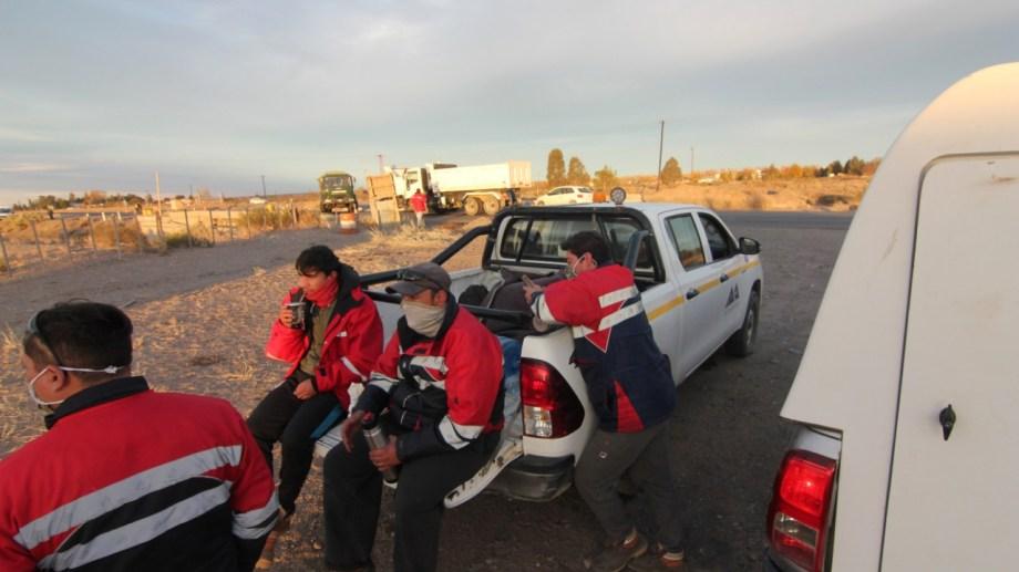 Los mineros cortan la Ruta 22 en Arroyito desde el 5 de mayo. (Archivo Oscar Livera).-