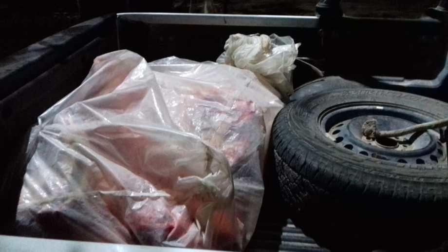 Un hombre transportaba 80 kilos de carne sin permisos ni medidas sanitarias. (Foto gentileza)