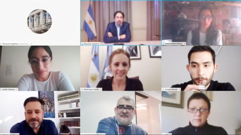 Captura de la pantalla de la reunión de Nicolás Trotta con los diputados del Frente de Todos (gentileza)
