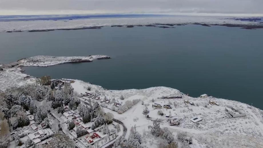 El Chocón nevado. Captura de video.