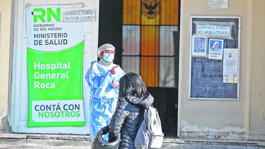 El centro de consultas respiratorias en el hospital de Roca. Foto: Juan Thomes