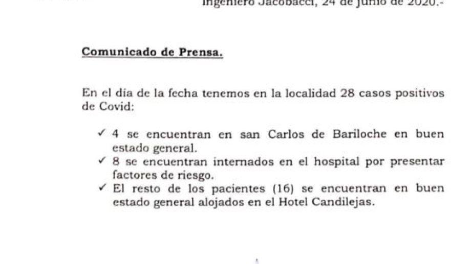Anoche el hospital informó sobre el estado de los pacientes con COVID-19.