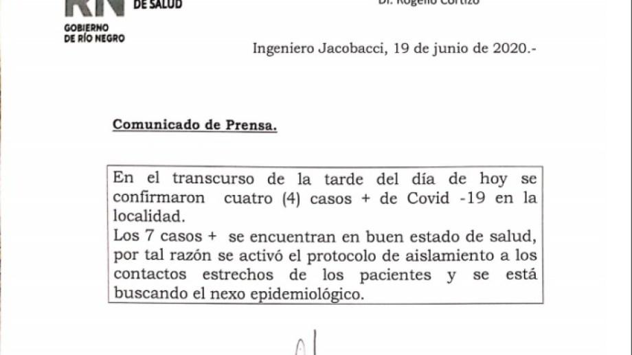 """La dirección del hospital """"Dr. Rogelio Cortizo"""" confirmó anoche 4 nuevos casos positivos de COVID-19."""