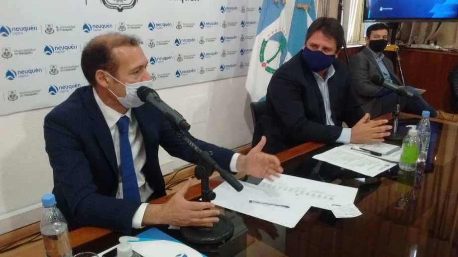 Gutiérrez y Gaido dieron una conferencia de prensa, la primera durante la cuarentena. (Oscar Livera).-