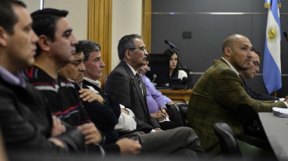Los imputados en una de las audiencias del juicio que se desarrolló en octubre y noviembre de 2018 en Bariloche. (foto archivo)