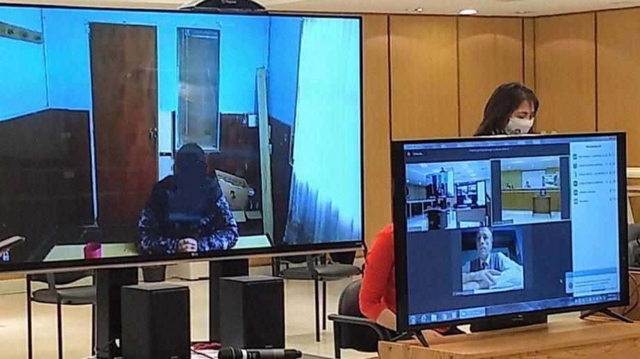La audiencia se realizó de manera semipresencial. González declaró por videoconferencia desde Viedma. Foto: gentileza Ministerio Público Fiscal Río Negro.
