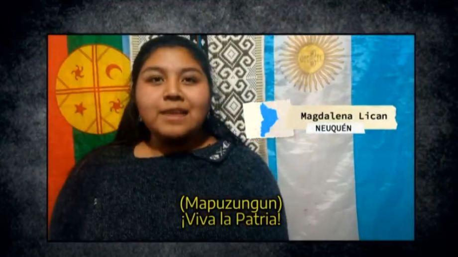 Magdalena Lican fue una de las jóvenes que participó de la lectura del acta de Independencia. (Captura).-