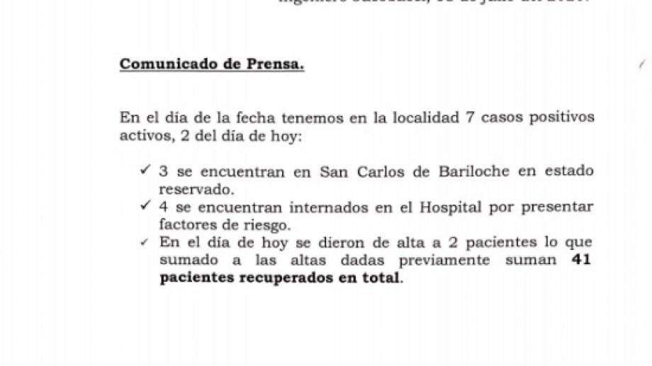 El hospital de Jacobacci emitió anoche un nuevo parte informativo sobre la situación epidemiológica en la ciudad.