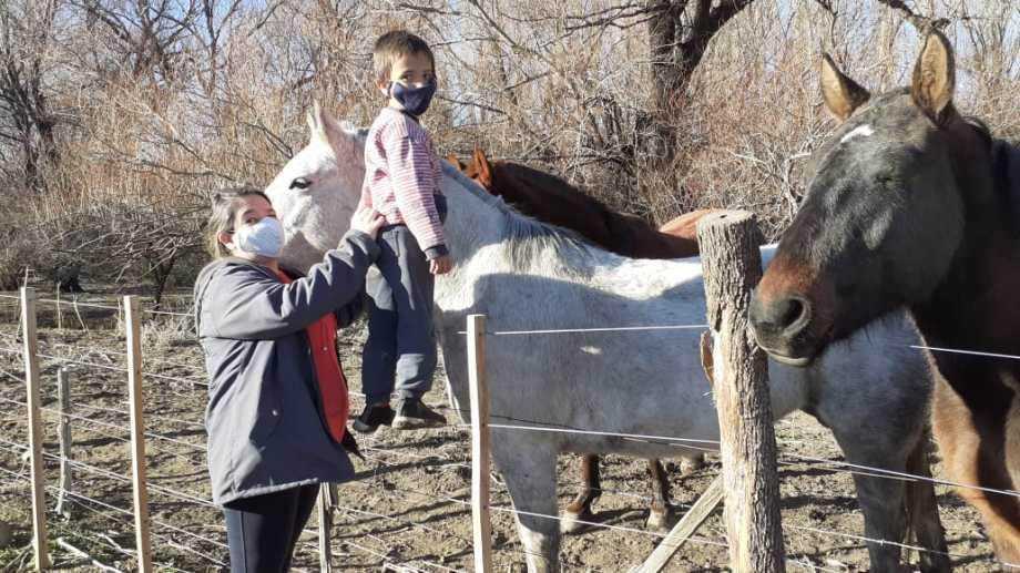 Iván y su mamá Vanesa junto a los caballos. El kinesiólogo recomendó equinoterapia. Y así pudo caminar.