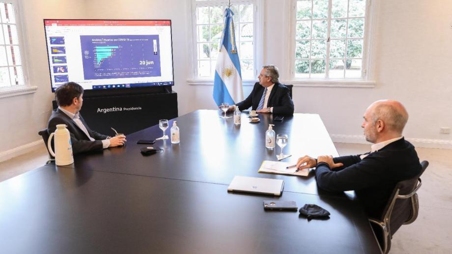 El presidente con el gobernador y el jefe de gobierno porteño, durante una de las últimas reuniones.