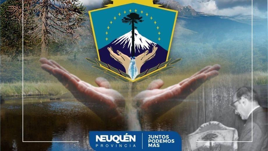 La imagen que hizo el gobierno neuquino tiene en su extremo inferior derecho la foto del dictador José Andres Martínez Waldner.