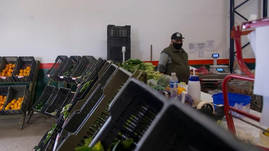 Verduras y frutas del Valle se ofrecen en el Mercado Comunitario de Bariloche. Foto: Marcelo Martinez