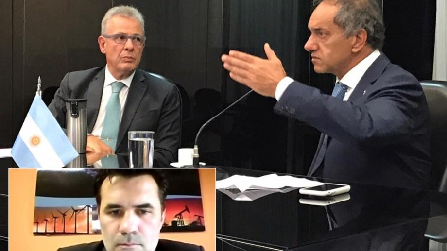 El titular de Energía, Darío Martínez, y el embajador en Brasil Daniel Scioli, plantearon el estado del proyecto de un gasoducto que una Vaca Muerta con Brasil.