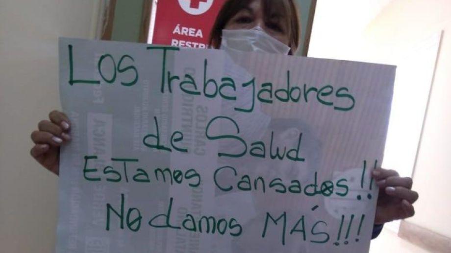 """El sindicato publicó una campaña en redes con el mensaje """"no damos más"""". Foto: gentileza."""