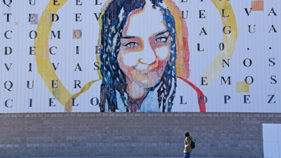 El mural pintado en el gimnasio municipal de Plottier fue realizad por Andrés Zerneri y Geraldine Schroeder, con motivo del aniversario. Foto Florencia Salto.