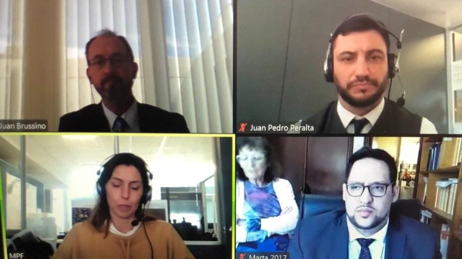 La audiencia fue de manera virtual, presidida por el juez Juan Brussino. Foto: gentileza.