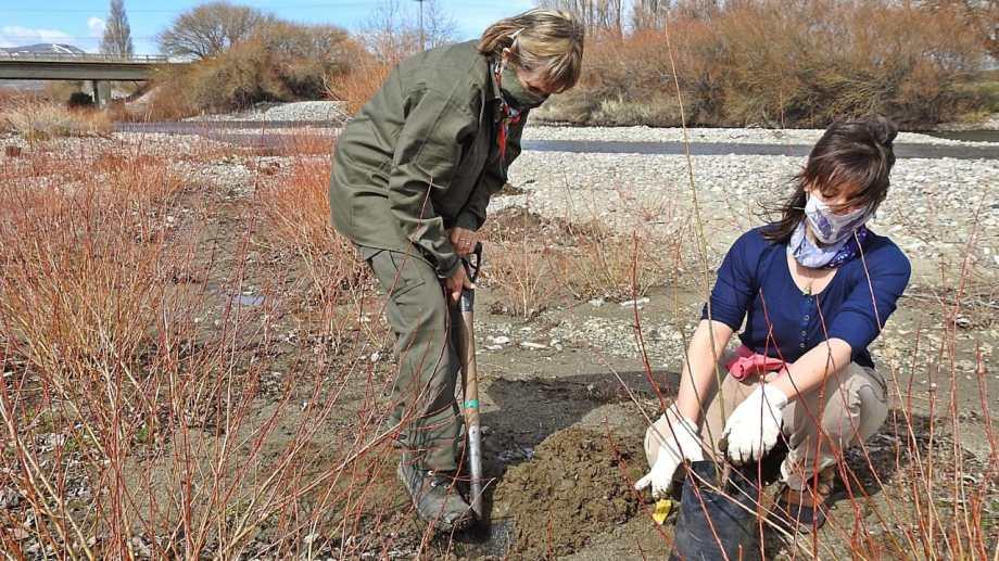 La plantación estuvo guiada por Leonardo Gallo del INTA Bariloche. Foto: gentileza
