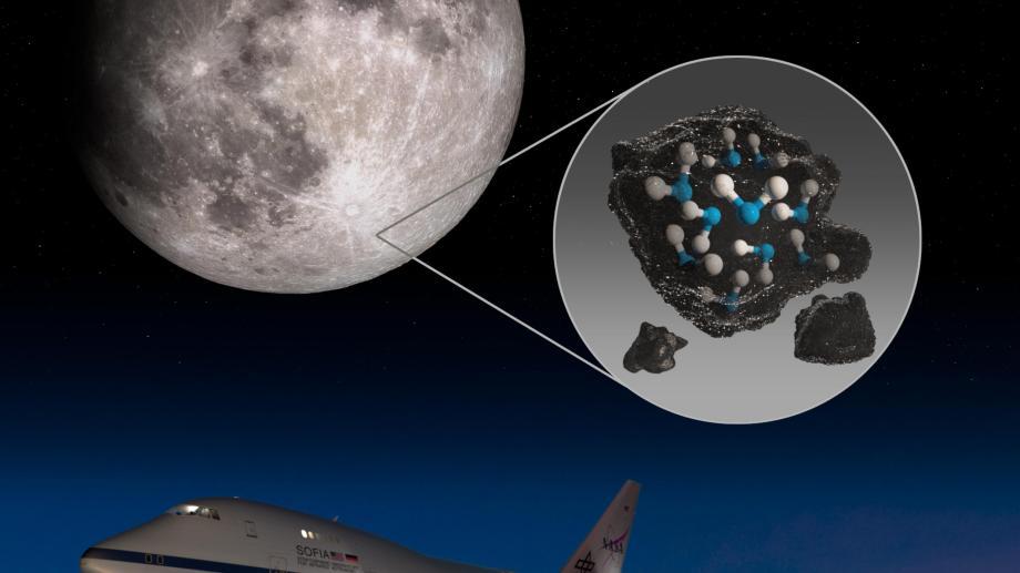 El cráter Clavius de la Luna con una ilustración que representa el agua atrapada en el suelo lunar allí, junto con una imagen del Observatorio Estratosférico de Astronomía Infrarroja (SOFIA) de la NASA que encontró agua en una zona del suelo lunar iluminada por el Sol. Crédito de imagen: NASA